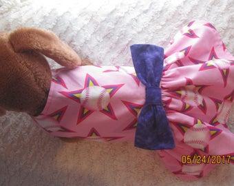 NEW Custom Boutique Pink and Purple Softball Dog or Cat Dress Xxxxs, Xxxs, XXS, XS, Small or Medium