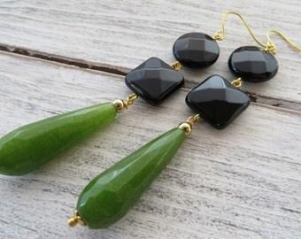 Green jade earrings, black onyx earrings, long drop earrings, gemstone jewelry, dangle earrings, teardrop earrings, contemporary jewelry