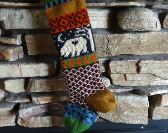 Knit Christmas Stockings, Personalized Christmas Stockings, Hand Knitted Stocking, Christmas Stocking Personalized, Navy Bear with Burgundy