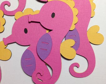 Seahorse Paper Die Cuts ~ Under the Sea Party Decorations, Mermaid Party Ideas, Ocean Animals, Ocean Friends, Cute Seahorse Party Decor