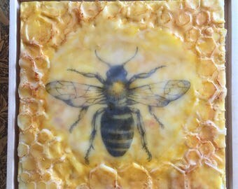8x8 Bee Encaustic Painting