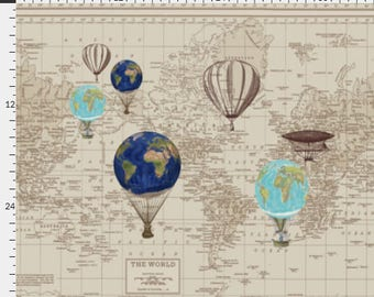 Fabric Yardage - Map of the World Fabric  with Hot Air Balloons - nursery, steampunk, globes, unique fabric - Crafting and Sewing Supplies