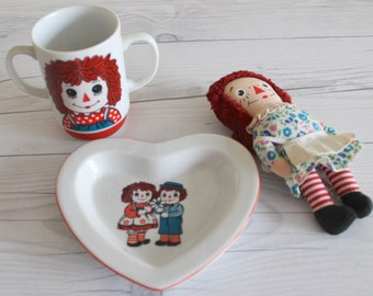 Vintage Small Raggedy Ann Doll with Plate and Cup, Vintage Knickerbocker Raggedy Ann