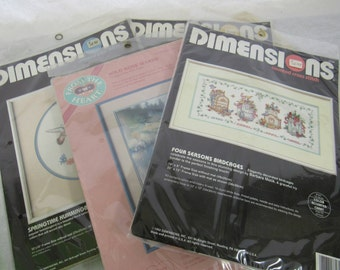 Vintage CrossStitch Needlepoint Kits EACH Dimensions Rose Marsh Springtime Terrace Counted Cross-stitch Needlepoint In Packages Never Opened