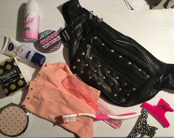 Festival/Travelling Survival pack (1 Genuine Leather Studded Bumbag, Festival/Travelling essentials & 1 pair of studded ankle socks)