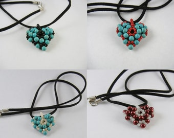 Natural Turquoise Stone and Glass Pearl Beaded Hearts pendant necklace