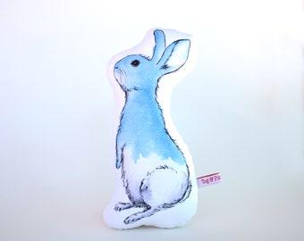 Blue Bunny Softie //  cushion, baby's room, nursery, childs room, children's bedroom, imaginative play, waldorf, steiner, rabbit