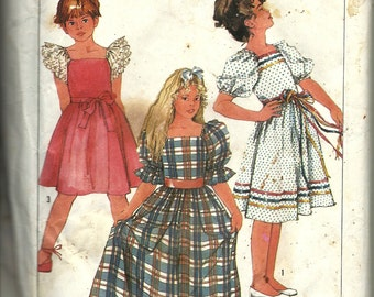 Simplicity 7429 Girls Pull-Over Dress in 2-Lengths    Size 14  Uncut