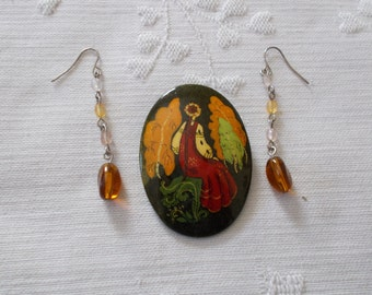 Hand Painted Brooch and a pair  Amber Colored Drop Earrings (303)