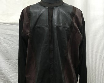 Mens, leather sweater, XXL, black, brown, Maxini, Made in Italy