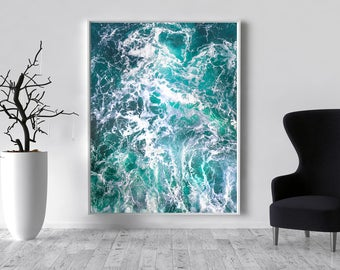Blue Abstract Canvas Large XXL Seascape Extra Wall Art Teal