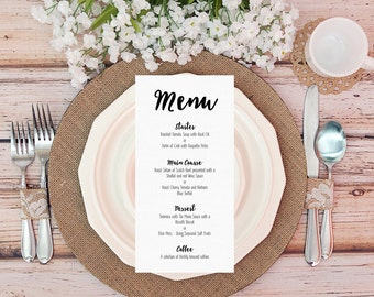 Pack of 10 Personalised Menu Cards-Party/Wedding