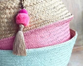 Olivia Seagrass Beach Bags with Pom pom Bag Charm / Pink and Light Blue / Belly Basket / Seagrass Beach Bags / Pom pom Tassel Accessory