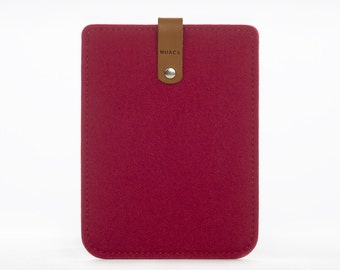 Kindle Cover - Kindle Sleeve - Kindle Paperwhite Case - Felt and Leather Case - Amazon Kindle Case - Kindle Reader Case - Red Kindle Sleeve