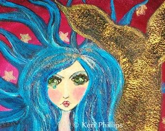 Mermaid Art Print, Folk Art Mermaid, Whimsical Mermaid,  Whimsical Art, Mermaid, Wall Art, Folk Art, Home Decor, Red, Blue, Gold, Stars, Art