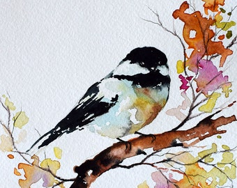 ORIGINAL Watercolor Bird Painting, Chickadee on a Colorful Branch, Floral Art 6x8 inch