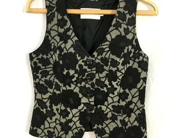 Brocade grey floral vest / Flowers print vest / Vest Size S M