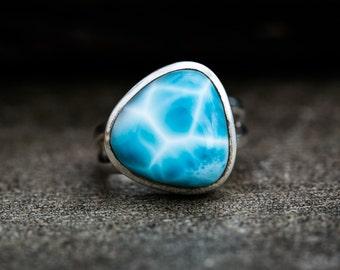 Larmiar Ring - Size 9.5 Mens or Womens Larimar Ring -  Sterling Silver Larimar ring - Genuine Larimar - AAA Larimar Ring  - Larimar Jewelry
