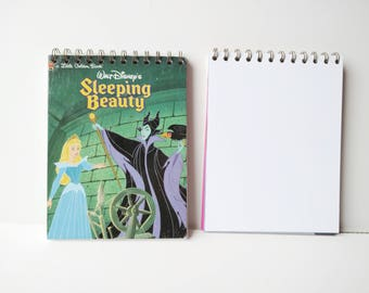 Disney sleeping beauty aurora and maleficent Little Golden Book Upcycled Sketchbook Notebook, Drawing Pad