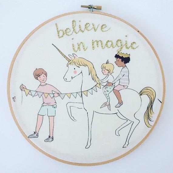 Believe in magic embroidery hoop art unicorn wall