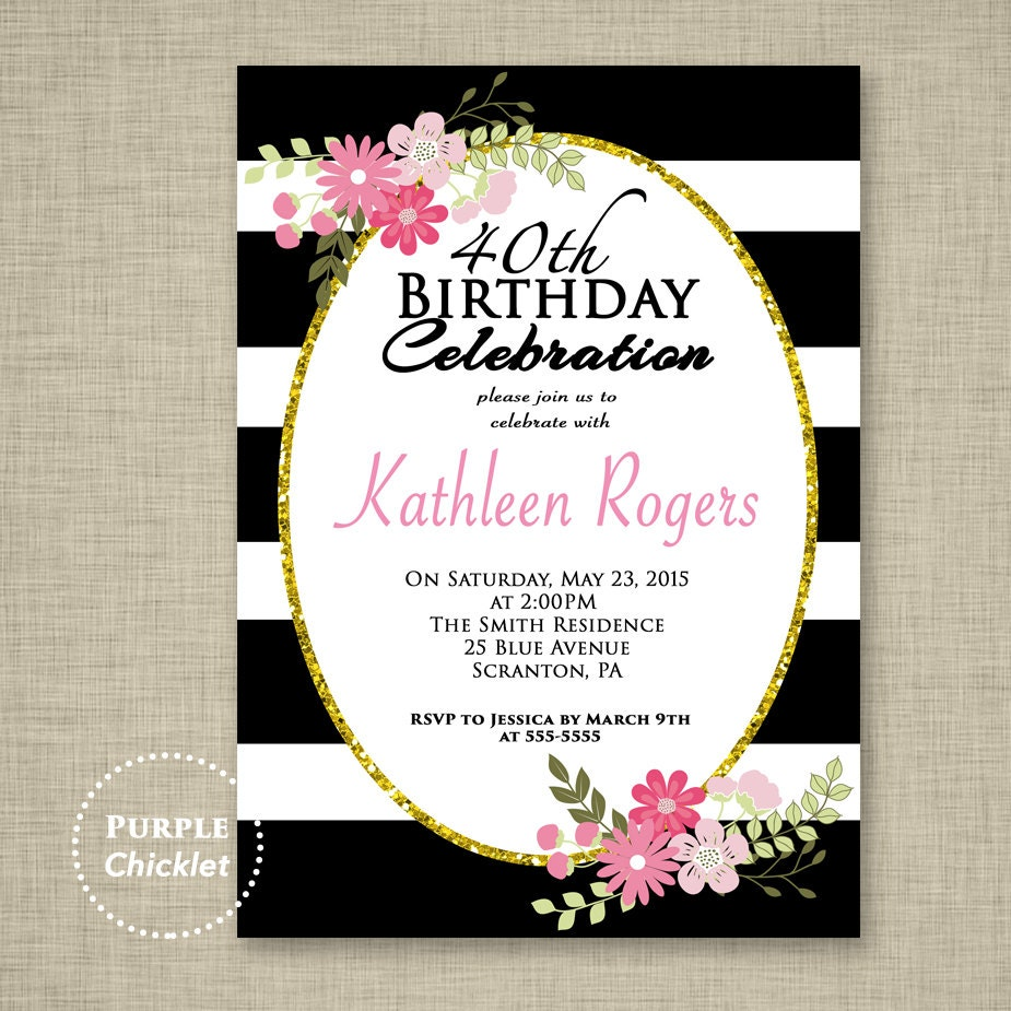 Black and White Stripes Invitation 30th 40th Birthday Floral ...