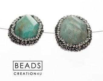 Gemstone Amazonite Pave Bead,Amazonite Pave Bead,Amazonite Gemstone Pave Bead 24x19mm MD198
