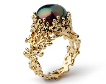 CORAL Black Pearl Ring, Gold Engagement Ring, Black Pearl Engagement Ring, Gold Pearl Ring, Large Pearl Ring, Sea Inspired Jewelry