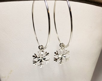 Sterling Silver Hoops, Snowflake Charm, Winter Wedding Hoop Earrings, Bridal Party Gifts, Snowflakes and Icicles Collection
