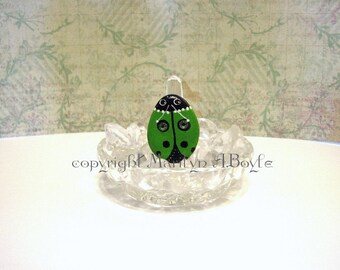 STONE Ring- HAND PAINTED; green ladybug, Swarovski crystals, jewelry, Statement ring, one of a kind, original art,