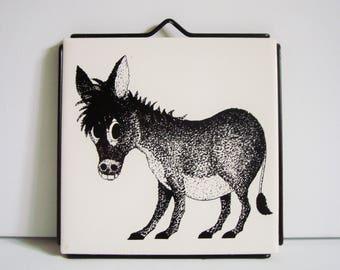 Vintage donkey tile trivet wallhanging