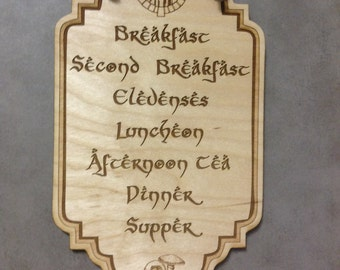 Lord of the Rings, LOTR, Hobbit Meals, Small Plaque,Laser Engraved Wood, Laser Cut Walll Hanging, Sign