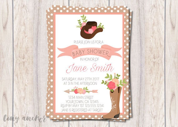 Printable Floral Country Cowgirl Baby Shower Invitation Girl Baby