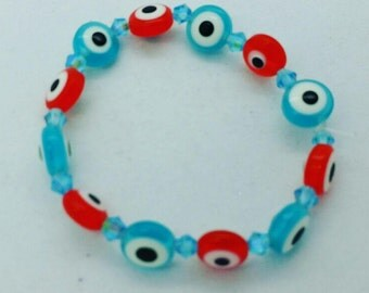 Evil eye beaded bracelet for baby kids toddler and adults, red blue evil eye bracelet, evil eye baby bracelet for children, toddler, kids