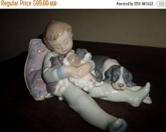Save 25% Now Vintage Retired Lladro Figurine Sweet Dreams No 1535 Sleeping Boy w/ Puppies Mother Dog Pristine Condition