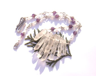 Quartz and Amethyst: the magical... Stalactites 41 cm Choker necklace