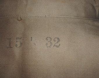 US Army WWII khaki cotton service shirt, 14th AA Command; 15-1/2 X 32; great shape!