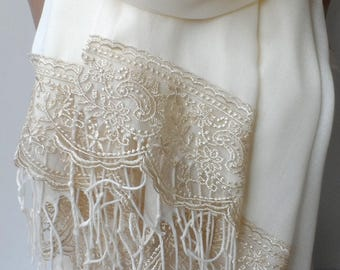 Bridesmaid pashmina shawls in Cream with Champange French Lace Ivory Pashmina Lace Scarf Women Wedding wraps Feminine Lightweight Soft