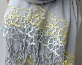 Light Gray Pashmina Shawls with Light Silver Gray+Gold French Lace Soft Lightweight Bridesmaid pashmina Wedding Feminine Gifts for mother