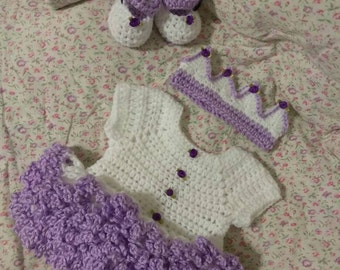 Crochet white with lavender ruffles,  tutu dress with crown and shoes