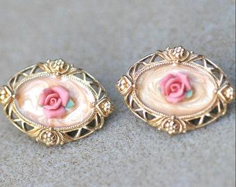 Vintage 1980's Avon Rose Cameo Earrings Vintage