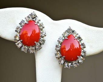 Red Glass Teardrop & Rhinestone Earrings Vintage