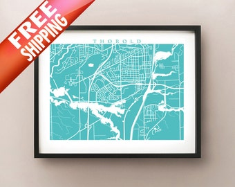Thorold, ON Map - Canada Wall Art - Ontario - Niagara Region