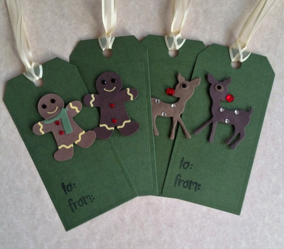 Felt Gingerbread And Deer Christmas Tags Set Of 4 Gift Tags