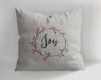 Joy Pillow - Christmas PIllow - Handmade Linen Pillow Cover - Decorative - Throw Pillow Cover - Light Oatmeal Natural Linen - Cushion Cover