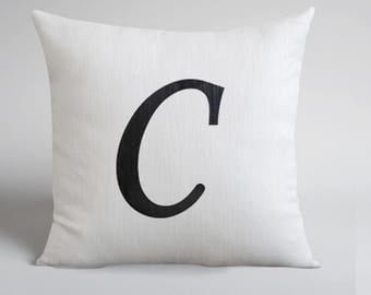 SALE!!! Letter C pillow cover- Customized name initial pillow - Hand Drawn Linen Pillow - White linen Throw Pillow  - Hand drawn