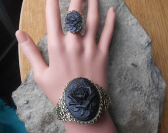 Black Rose Cameo Bronze Filigree Bracelet and Matching Ring - Great Quality - Unique - Goth, Mourning