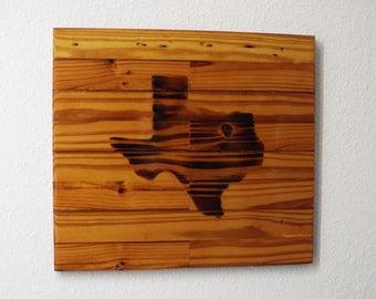 Texas art, Texas sign, wood sign, reclaimed wood, wall sign, rustic art, wood art, brown woodgrain, wood burning, Texas decor, rustic decor