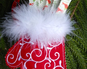 Christmas ~ Holiday~ Wreath ~ Decoration ~ Ornament Machine Embroidered Mitten on Red Reclaimed Linen and White Feather Boa