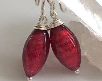 Red Venetian Glass Earrings  / Murano Glass Earrings / Ruby Red Glass / Sterling Silver Earrings / Glass Drop Earrings