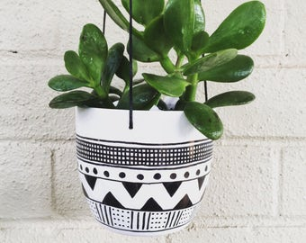 Hand Decorated Ceramic Hanging Wall Planter